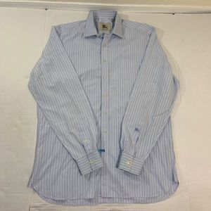 Burberry Logo Striped Blue Dress Shirt 16 41